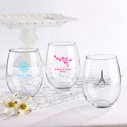 Personalized Stemless Wine Glass 15 oz. (Wedding)